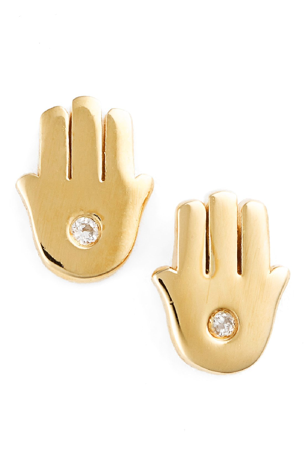 Shy By Se 'hamsa' Stud Earrings In Gold
