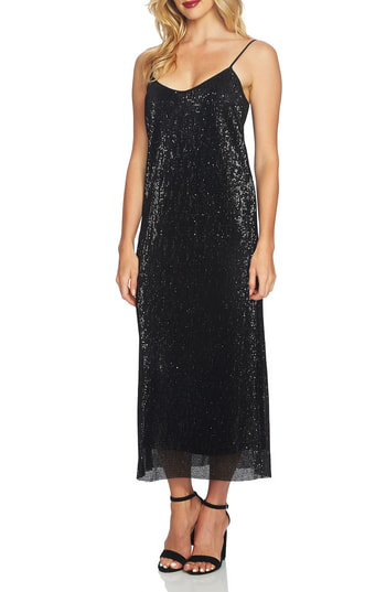 1.state Sequin Midi Slipdress In Rich Black