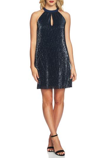 1.state Sequin Halter Dress In Dark Nightfall