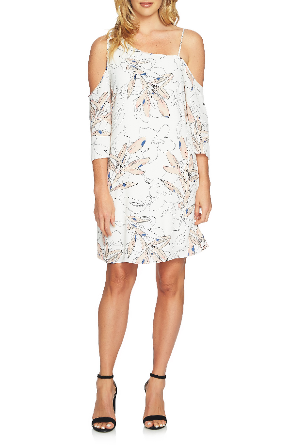 1.state Printed One-shoulder Dress In New Ivory