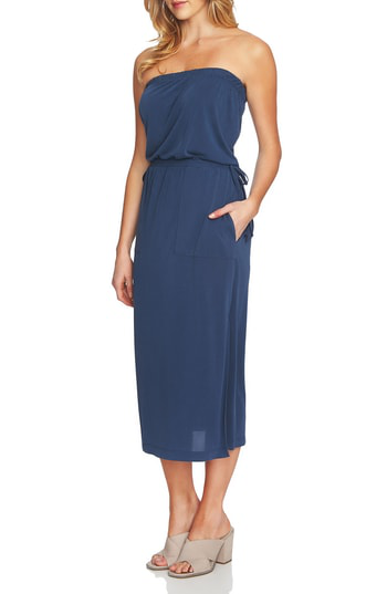 1.state Strapless Maxi Dress In Indigo Depth