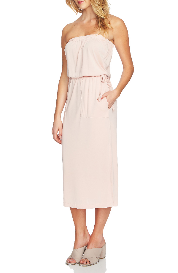 1.state Strapless Drawstring Dress In Shadow Pink