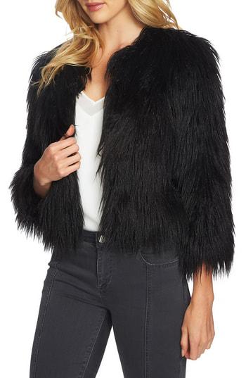 1.state Crop Faux Fur Jacket In Rich Black