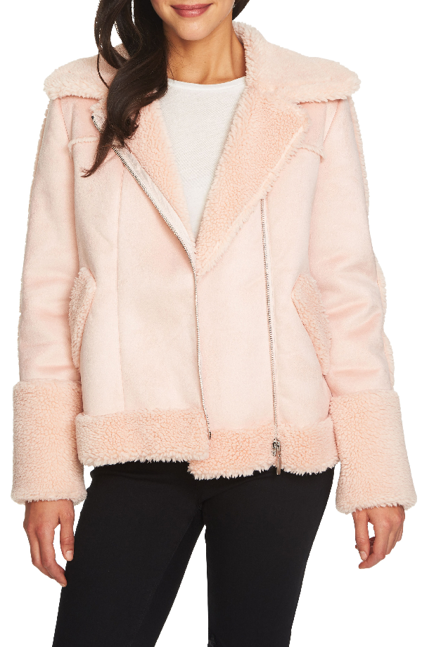 1.state Faux Shearling Moto Jacket In 808-shadow Pink