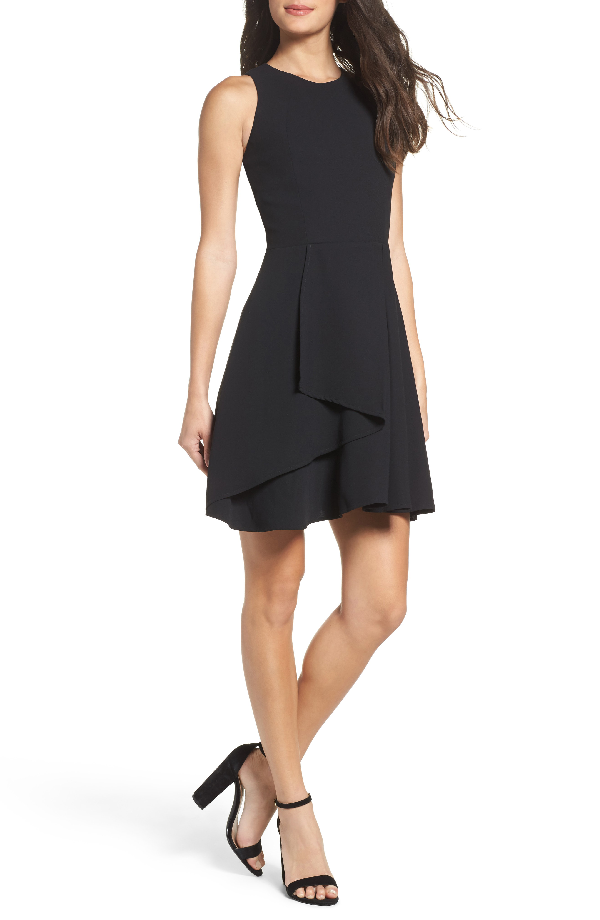 Adelyn Rae Athena Fit & Flare Dress In Black