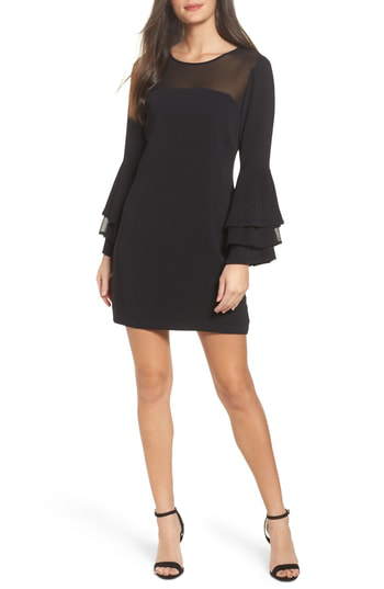 Adelyn Rae Raissa Bell Sleeve Shift Dress In Black