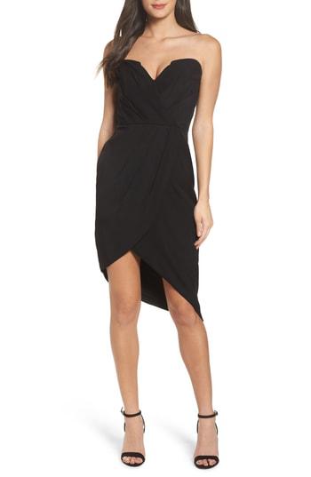 Adelyn Rae Loren Strapless Asymmetric Dress In Black