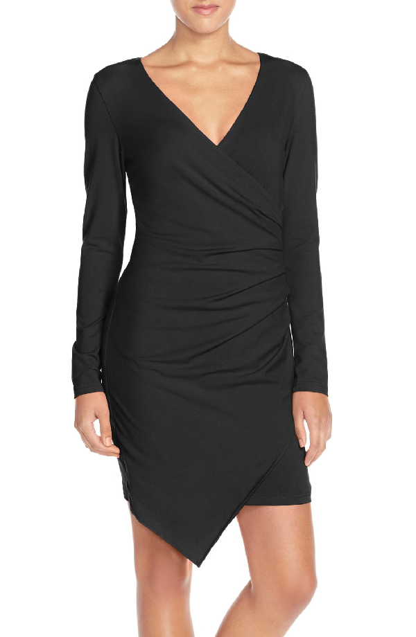 Adelyn Rae Ruched Jersey Sheath Dress In Black