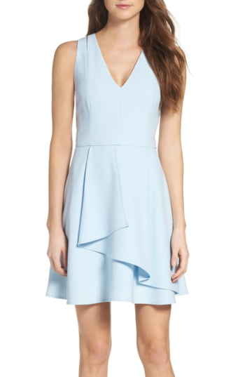 Adelyn Rae Asymmetrical Crepe Fit & Flare Dress In Cool Blue