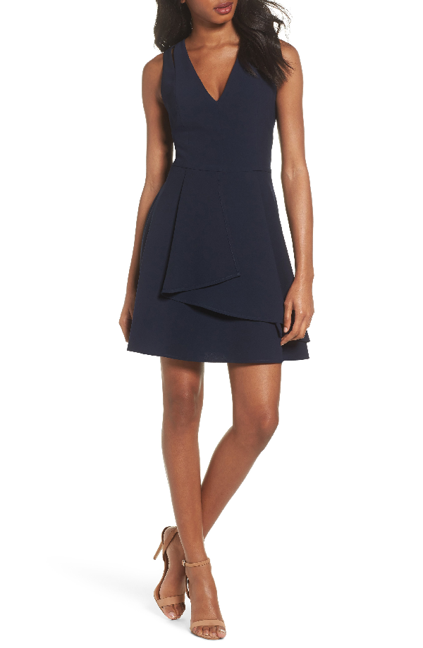 Adelyn Rae Asymmetrical Crepe Fit & Flare Dress In Navy