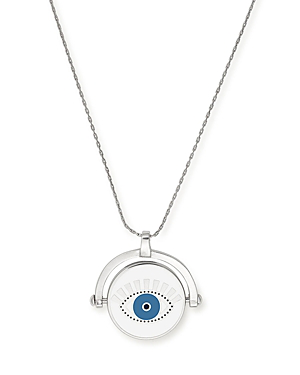 Alex And Ani Mediating Eye Pendant Necklace, 16 In Silver