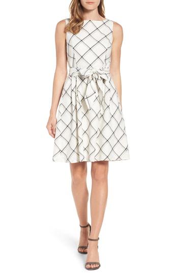 Anne Klein Windowpane Plaid Fit & Flare Dress In White Combo