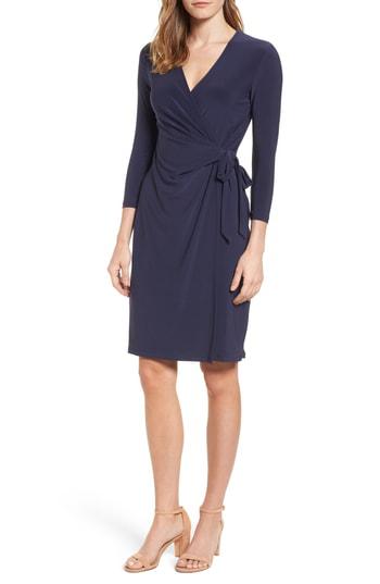 Anne Klein Jersey Faux Wrap Dress In Dark Indigo