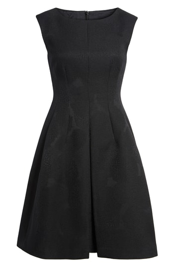 Anne Klein Jacqaurd Fit & Flare Dress In Black