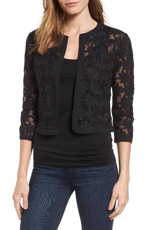 Anne Klein Floral Embroidered Mesh Cardigan In Black