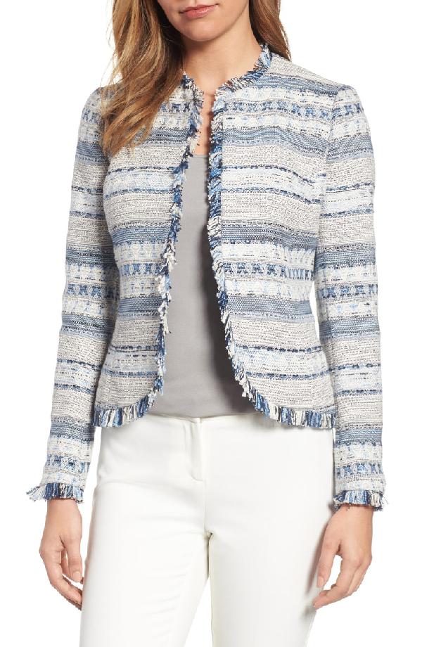 Anne Klein Tweed Jacket In Harbor Blue/ White Combo