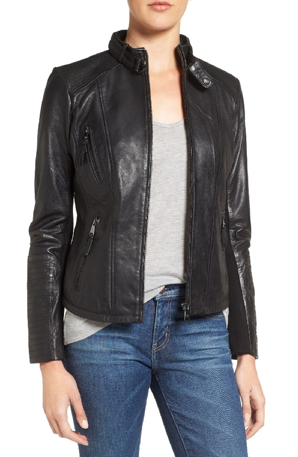 Bernardo Zip Front Leather Biker Jacket In Black