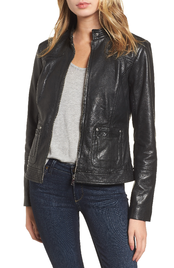 Bernardo Leather Moto Jacket In Black