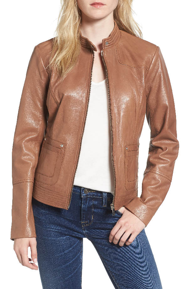 Bernardo Leather Moto Jacket In Tobacco