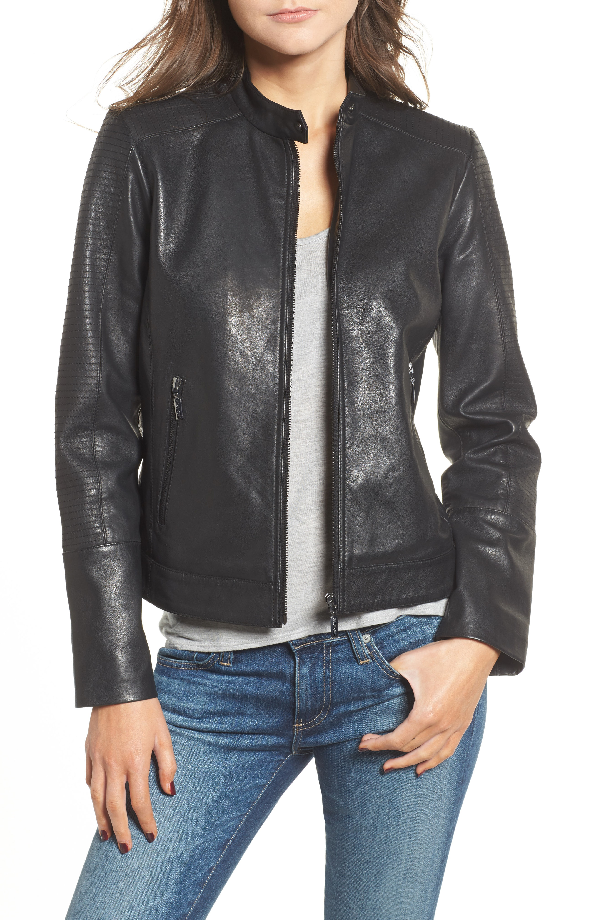 Bernardo Kirwin Leather Moto Jacket In Black