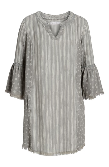 Billy T Bell Sleeve Shift Dress In Grey Mix