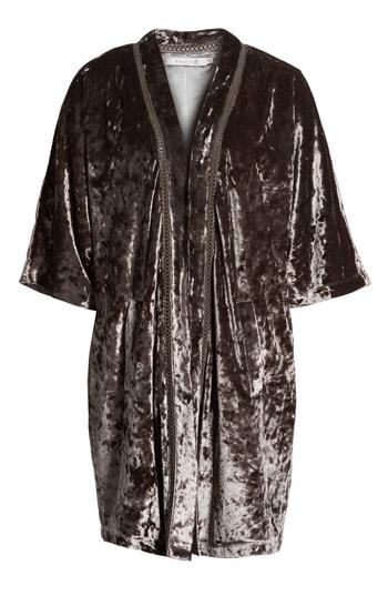 Billy T Embroidered Velvet Kimono Jacket In Smoke