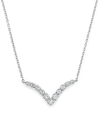 Bloomingdale's Diamond V Pendant Necklace In 14k White Gold, .20 Ct. T.w. - 100% Exclusive