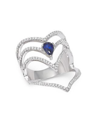 Bloomingdale's Diamond And Sapphire Multi-row Cage Ring In 14k White Gold - 100% Exclusive
