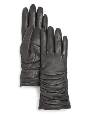 Bloomingdale's Leather Glove With Ruching - 100% Exclusive In Gray