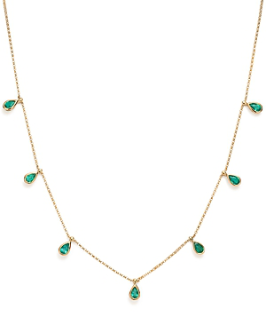 Bloomingdale's Emerald Teardrop Charm Necklace In 14k Yellow Gold, 1.73 Ct. T.w. - 100% Exclusive In Green/gold