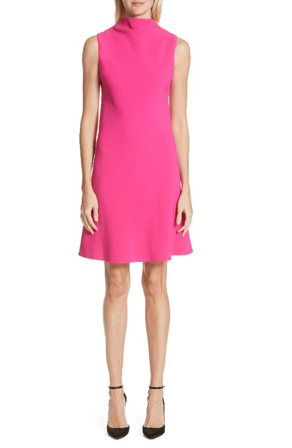 Brandon Maxwell Drape Front Dress In Fuchsia