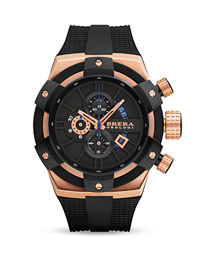 Brera Orologi Supersportivo 14k Rose Gold And Black Ionic-plated Stainless Steel Watch With Black Rubber Strap, 48