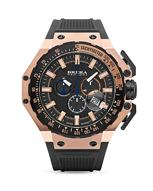 Brera Orologi Gran Turismo 14k Rose Gold And Black Ionic-plated Stainless Steel Watch With Black Rubber Strap, 54m