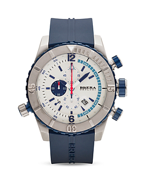 Brera Orologi Sottomarino Diver Navy Blue Ionic-plated Stainless Steel Watch With Navy Blue Rubber Band, 48mm In Silver/navy