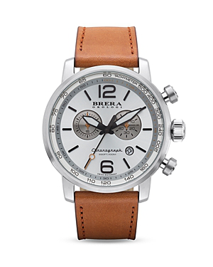 Brera Orologi Dinamico Stainless Steel Watch With Light Brown Leather Strap, 44mm