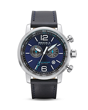 Brera Orologi Dinamico Stainless Steel Watch With Navy Blue Leather Strap, 44mm