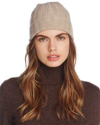 C By Bloomingdale's Ribbed Cashmere Cuff Hat - 100% Exclusive In Oatmeal