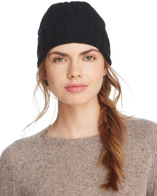 C By Bloomingdale's Ribbed Cashmere Cuff Hat - 100% Exclusive In Black
