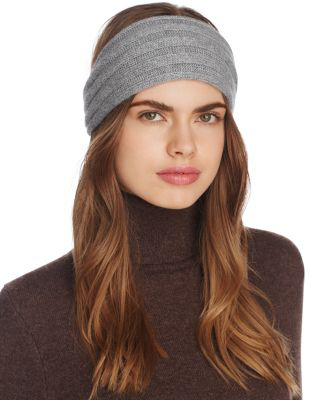 C By Bloomingdale's Ribbed Cashmere Headband - 100% Exclusive In Gray