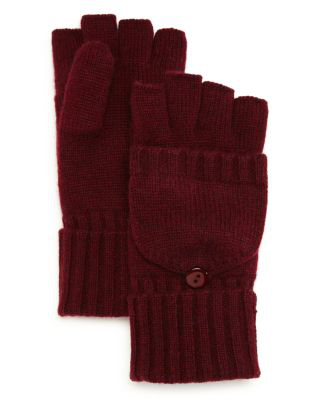 C By Bloomingdale's Pop Top Cashmere Mittens - 100% Exclusive In Burgundy