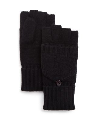 C By Bloomingdale's Pop Top Cashmere Mittens - 100% Exclusive In Black
