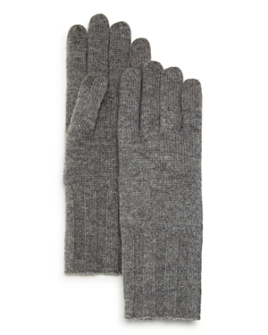 C By Bloomingdale's Ribbed Cashmere Gloves - 100% Exclusive In Gray