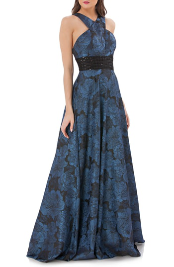Carmen Marc Valvo Infusion Jacquard Halter Gown In Blue/ Black