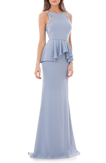 Carmen Marc Valvo Infusion Embellished Peplum Waist Crepe Gown In French Blue