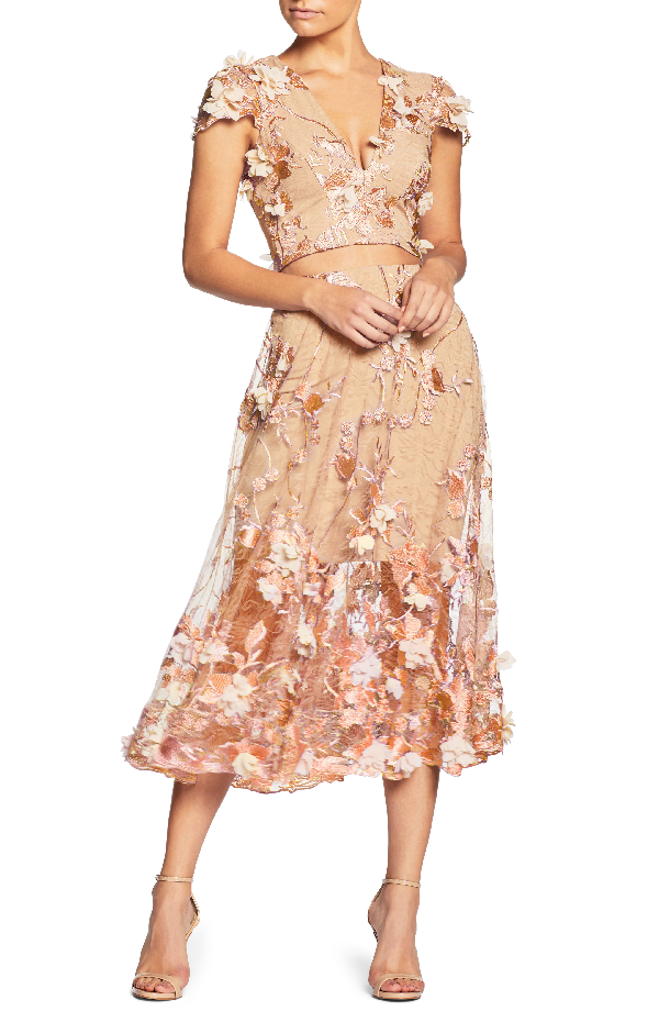Dress The Population Juliana 3d Lace Two-piece Dress In Peach