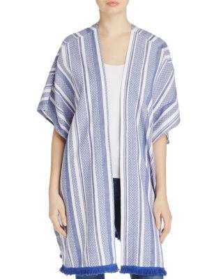 Echo Textured Yarn Dye Kimono In Brilliant Blue