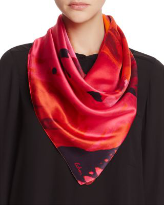Echo Paint Spill Silk Square Scarf In Winterberry