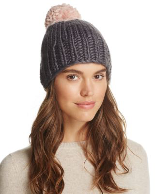 Echo Two-tone Roving Knit Pom-pom Beanie - 100% Exclusive In Magnet/blush