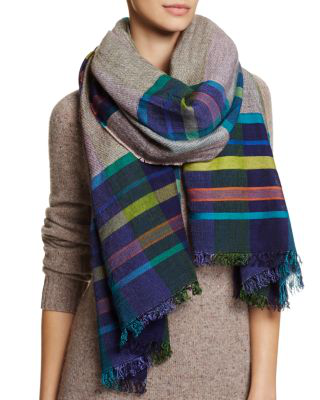Echo Varsity Stripe Blanket Scarf In Maritime Navy/multi