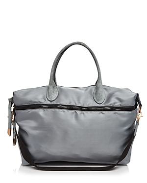 Foley And Corinna Frankie Expandable Nylon Weekender In Misty Grey/gold